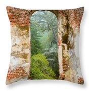 South Carolina Historic Church Photo Sheldon Ruins-- Another View From The Inside Throw Pillow
