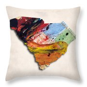 South Carolina Map Art - Painted Map Of South Carolina Throw Pillow