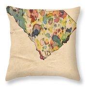South Carolina Map Vintage Watercolor Throw Pillow