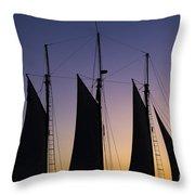 South Carolina Schooner Sunset Throw Pillow