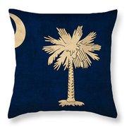 South Carolina State Flag Art On Worn Canvas Throw Pillow
