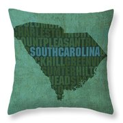 South Carolina Word Art State Map On Canvas Throw Pillow by Design Turnpike