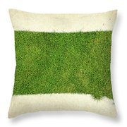 South Dakota Grass Map Throw Pillow by Aged Pixel