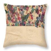 South Dakota Map Vintage Watercolor Throw Pillow