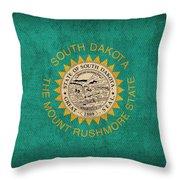 South Dakota State Flag Art On Worn Canvas Throw Pillow
