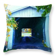 South Denmark Rd. Covered Bridge Throw Pillow