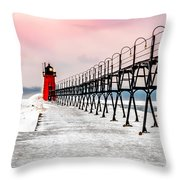 South Haven Light And Pier Throw Pillow
