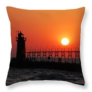 South Haven Lighthouse At Sunset 1 Throw Pillow