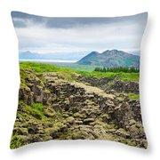 South Iceland Landscape Pingvellir Throw Pillow