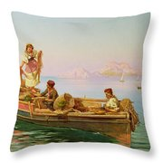 South Italian Fishing Scene Throw Pillow