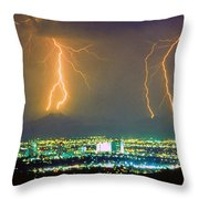 South Mountain Lightning Strike Phoenix Az Throw Pillow