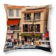 South Of France Fishing Village Throw Pillow
