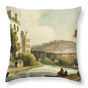 South Parade From Bath Illustrated Throw Pillow by John Claude Nattes