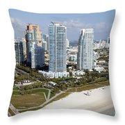 South Pointe Park Miami Beach Florida Throw Pillow