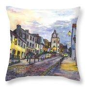 Nightfall At South Queensferry Edinburgh Scotland At Dusk Throw Pillow