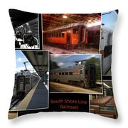 South Shore Line Railroad Collage Throw Pillow