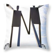 South Street Stick Men Statue Throw Pillow