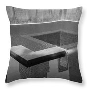 South Tower Pool In Black And White Throw Pillow
