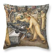 South Wall Of A Mural Depicting Detroit Industry Throw Pillow by Diego Rivera