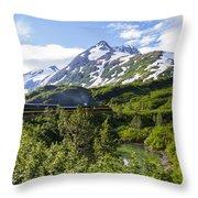 Southbound Alaska Railroad  Throw Pillow