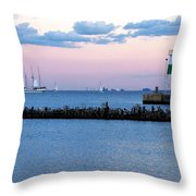 Southeast Guidewall Lighthouse At Sunset And Tall Ship Windy Throw Pillow