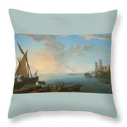 Southern Mediterranean Seascape With Boats And Figures At Sunset Throw Pillow