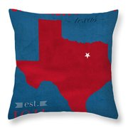 Southern Methodist University Mustangs Dallas Texas College Town State Map Poster Series No 098 Throw Pillow