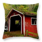 Southford Falls Covered Bridge And Waterfall Throw Pillow