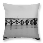 Southport Fishing Pier Throw Pillow