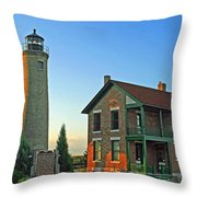 Southport Lighthouse On Simmons Island Throw Pillow