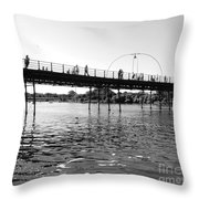 Southport Pier Across The Marine Lake Bw Throw Pillow