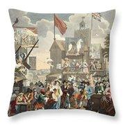 Southwark Fair, 1733, Illustration Throw Pillow