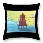 Southwest Reef Lighthouse La Nautical Chart Map Art Cathy Peek Throw Pillow