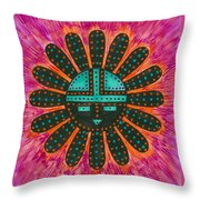 Southwest Sunburst Sunface Throw Pillow