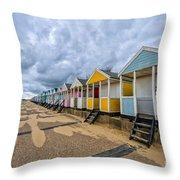 Southwold Beach Huts 4 Throw Pillow
