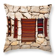 Souvenir Rugs For Sale At Wadi Mujib Jordan Throw Pillow by Robert Preston