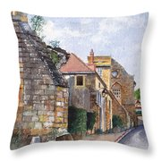 Souvigny Eclectic Architecture In A Village In Central France Throw Pillow