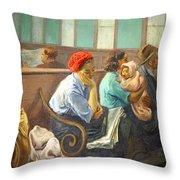 Soyer's A Railroad Station Waiting Room Throw Pillow