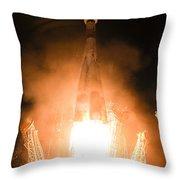 Soyuz Vs06 Lifting Off Throw Pillow