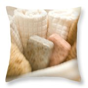 Spa Basket With Soaps Throw Pillow