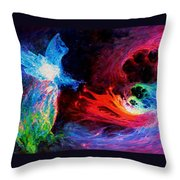 Space Cat Angel - 2 Throw Pillow by Julie Turner