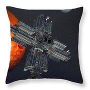 Space Colony Throw Pillow