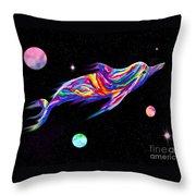 Space Dolphin Throw Pillow