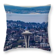 Space Needle 12th Man Seahawks Throw Pillow