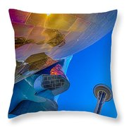 Space Needle And Emp In Perspective Hdr Throw Pillow