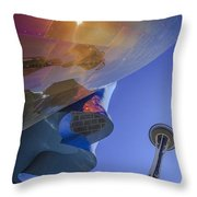 Space Needle And Emp In Perspective Non Hdr Throw Pillow