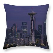 Space Needle At Twilight Throw Pillow