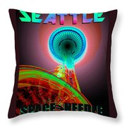 Space Needle Poster Work A Throw Pillow
