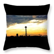 Space Needle Sunset Sillouette Throw Pillow