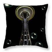 Space Needle With Bubbles 1 Throw Pillow